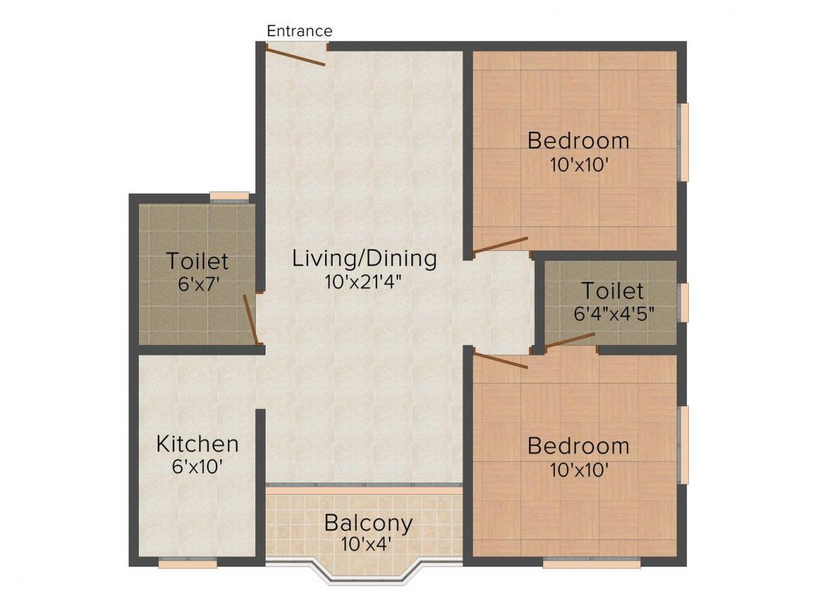 Floor Plan Image of 810 - 1320 Sq.ft 2 BHK Apartment for buy in Ganges Agrasain