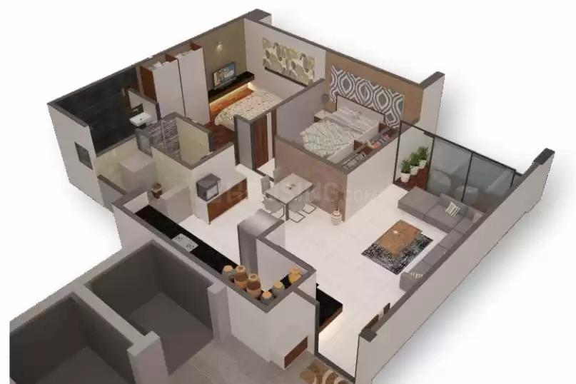 Satyamev Royal 3 Floor Plan: 2 BHK Unit with Built up area of 150 sq.yd 1