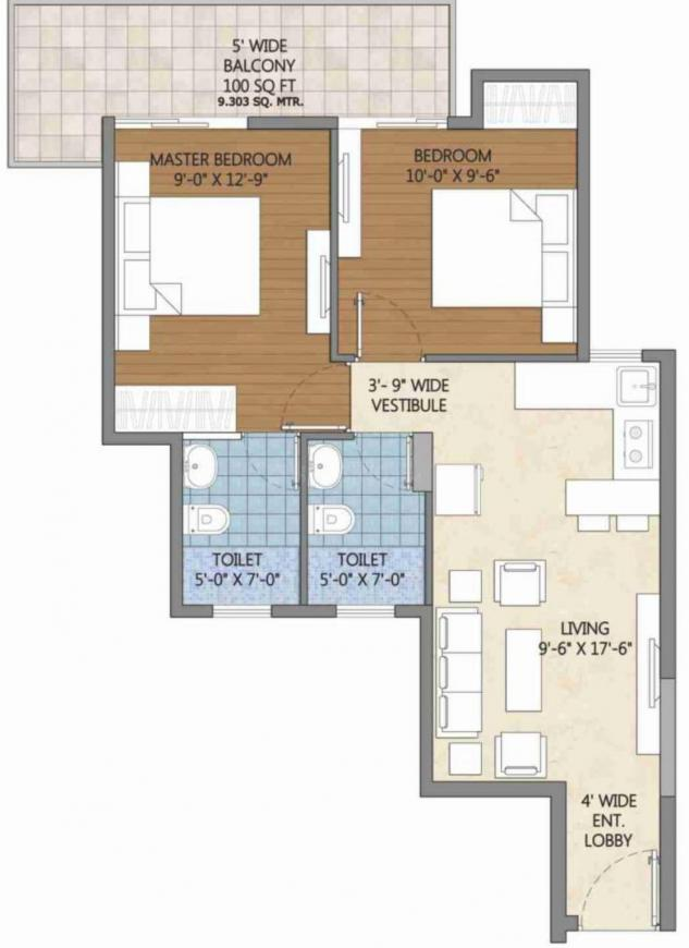 Pivotal Devaan Floor Plan: 2 BHK Unit with Built up area of 583 sq.ft 1