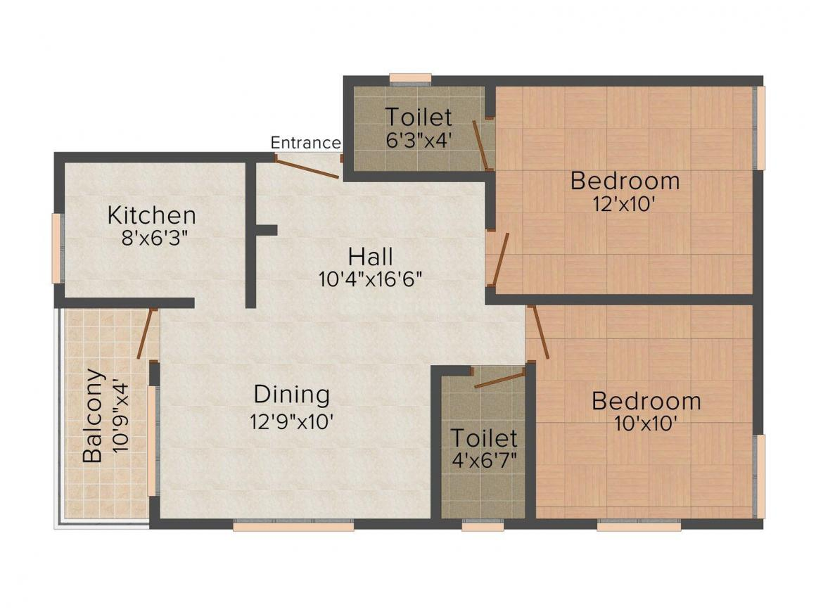 Floor Plan Image of 0 - 824.0 Sq.ft 2 BHK Apartment for buy in Chola Enclave