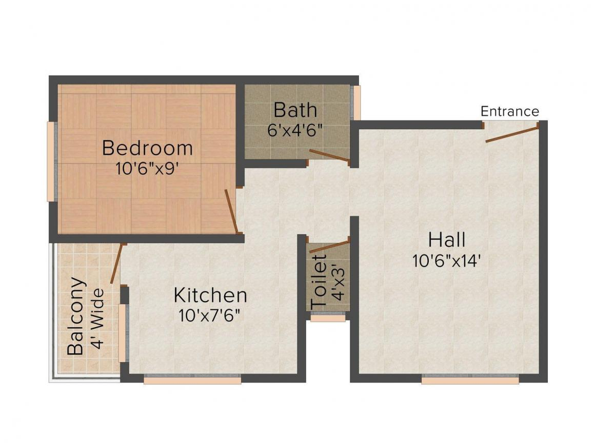 Floor Plan Image of 566.0 - 657.0 Sq.ft 1 BHK Apartment for buy in Shree Bhoomi Shakuntala Apartment
