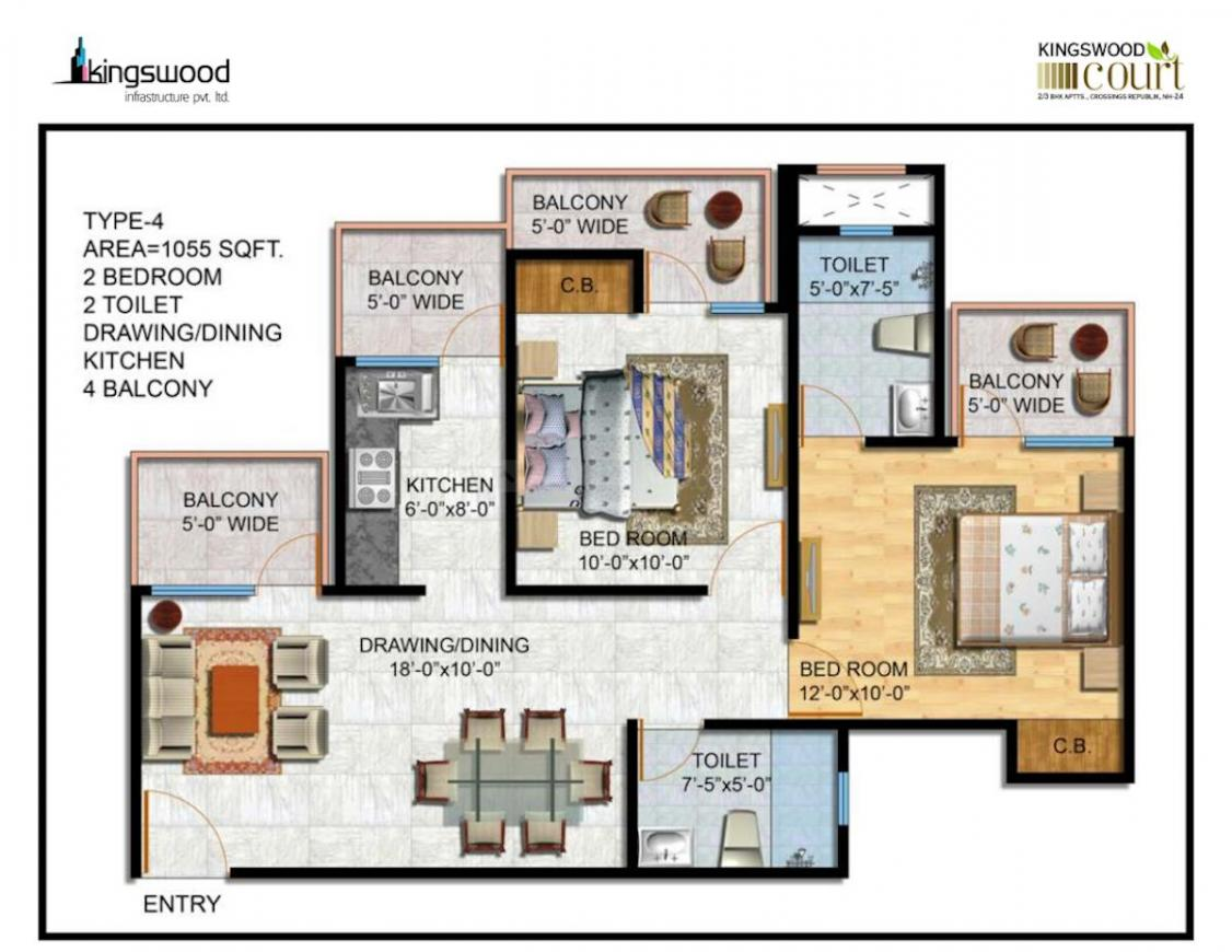 Kingswood Infrastructure Pvt Ltd Court Floor Plan: 2 BHK Unit with Built up area of 1055 sq.ft 1