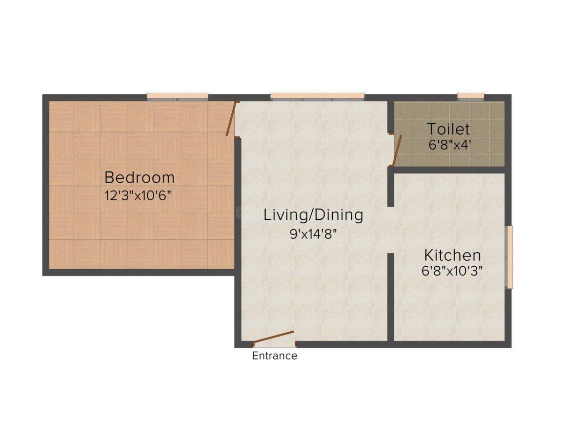 Anupam Siya Villa Floor Plan: 1 BHK Unit with Built up area of 420 sq.ft 1