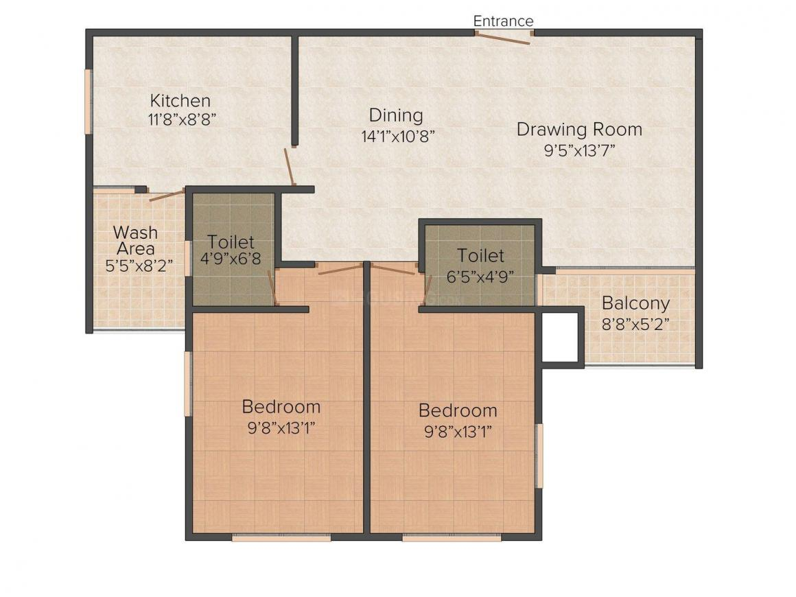 Floor Plan Image of 1163.0 - 2307.0 Sq.ft 2 BHK Apartment for buy in Kalyan Nexus