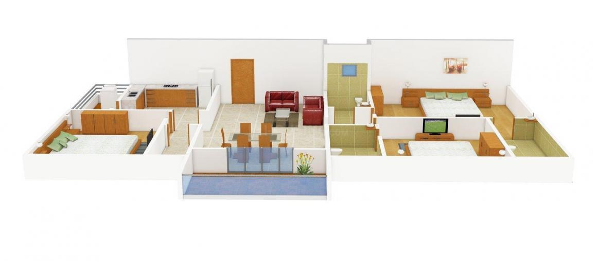 Raja Rajeswari Golden Sai Residency Floor Plan: 3 BHK Unit with Built up area of 1530 sq.ft 1