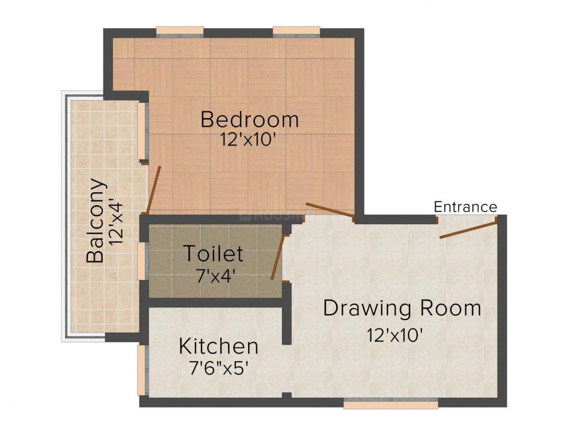 Balaji Estate-1 Floor Plan: 1 BHK Unit with Built up area of 450 sq.ft 1