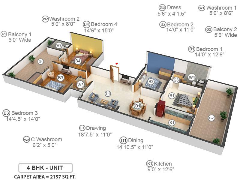 Paradise Homes Floor Plan: 4 BHK Unit with Built up area of 2157 sq.ft 1