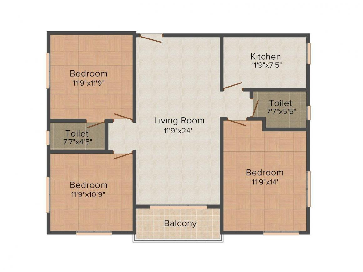 Floor Plan Image of 1113.0 - 1126.0 Sq.ft 3 BHK Apartment for buy in Shivoham Enclave