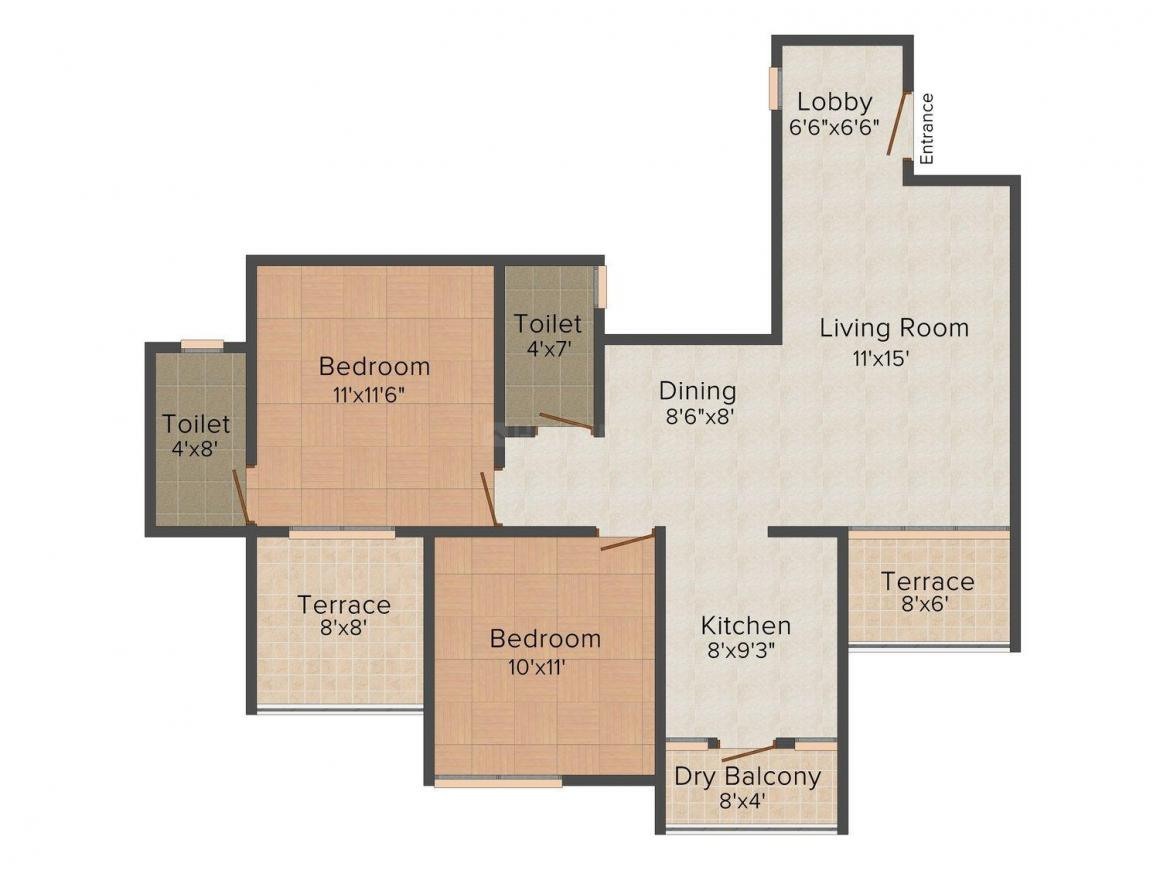 Floor Plan Image of 0 - 1010.0 Sq.ft 2 BHK Apartment for buy in Miracle Mark - I (Phase - II)