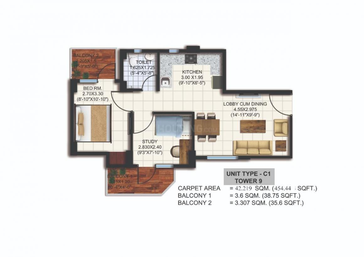 Agrasain Aagman 2 Floor Plan: 1 BHK Unit with Built up area of 454 sq.ft 1