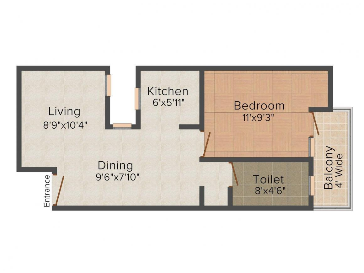 Floor Plan Image of 430.0 - 480.0 Sq.ft 1 BHK Independent Floor for buy in Shree Shyam Homes - 1