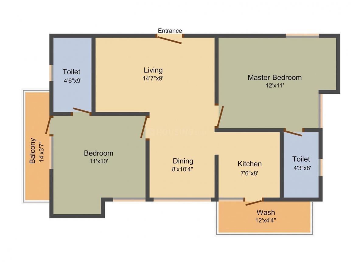 India Builders The Acqua Allodium Floor Plan: 2 BHK Unit with Built up area of 1019 sq.ft 1