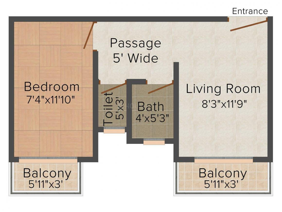 Floor Plan Image of 0 - 530.0 Sq.ft 1 BHK Apartment for buy in Sakasi Nagar