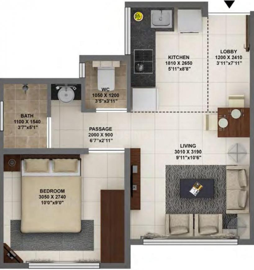 Terraform Dwarka Floor Plan: 1 BHK Unit with Built up area of 349 sq.ft 1