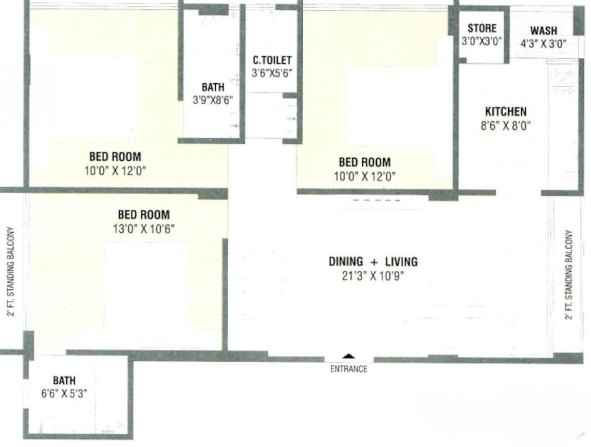 F S Ahmed E Bad Ark Floor Plan: 3 BHK Unit with Built up area of 859 sq.ft 1