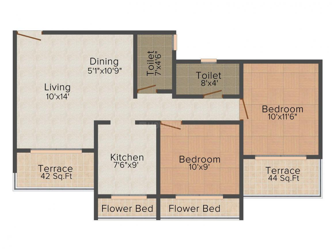 Dharti Sai Archana Floor Plan: 2 BHK Unit with Built up area of 1000 sq.ft 1