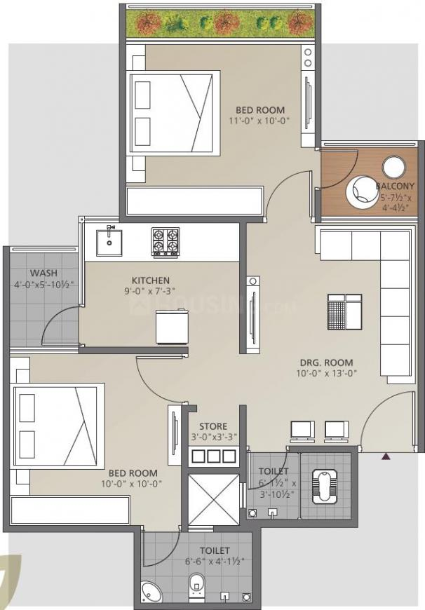 Omkar Dhairya Paradise Floor Plan: 2 BHK Unit with Built up area of 106 sq.yd 1