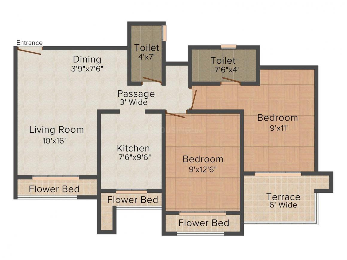 Floor Plan Image of 0 - 989.0 Sq.ft 2 BHK Apartment for buy in Royal Garden