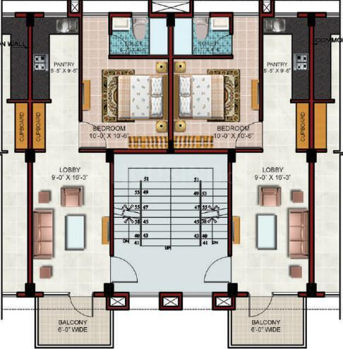 Omaxe Galleria Floor Plan: 1 BHK Unit with Built up area of 645 sq.ft 1