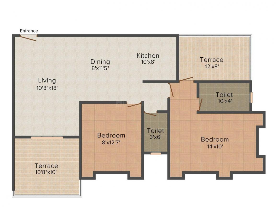 Floor Plan Image of 1143 - 1476 Sq.ft 2 BHK Apartment for buy in Chaitanya Platinum