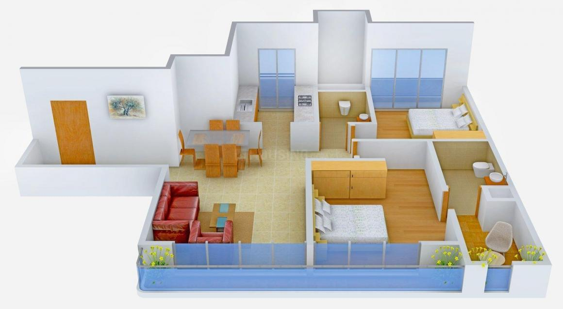 Floor Plan Image of 1650 - 2104 Sq.ft 2 BHK Apartment for buy in Omkar Vayu