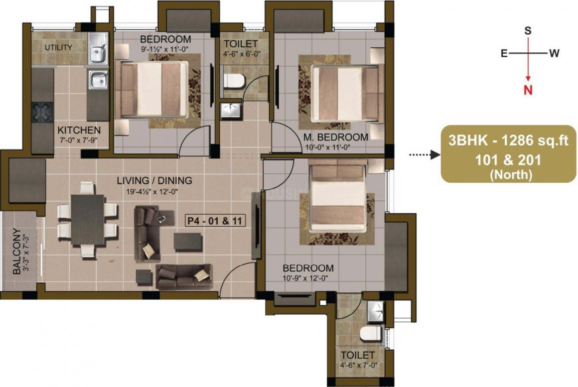 Floor Plan Image of 1175.0 - 1627.0 Sq.ft 2.5 BHK Apartment for buy in Sidharth Pearl