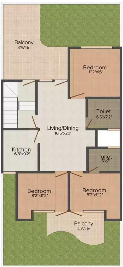 TDI My Floors 1 Floor Plan: 3 BHK Unit with Built up area of 1575 sq.ft 1