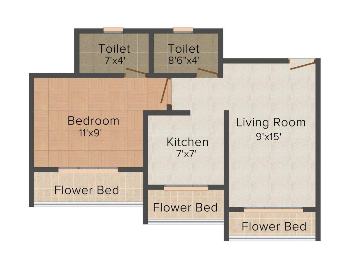 Floor Plan Image of 600 - 850 Sq.ft 1 BHK Apartment for buy in Saarthi Akash Complex