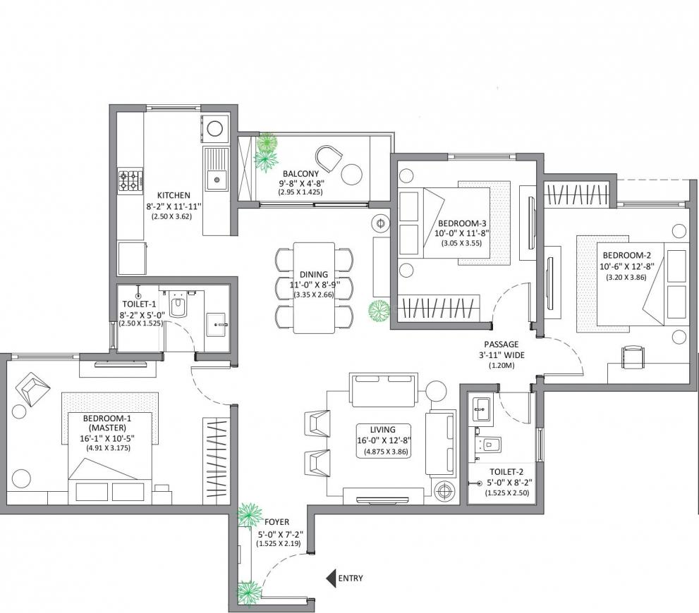 MARQ 2 Floor Plan: 3 BHK Unit with Built up area of 1366 sq.ft 1