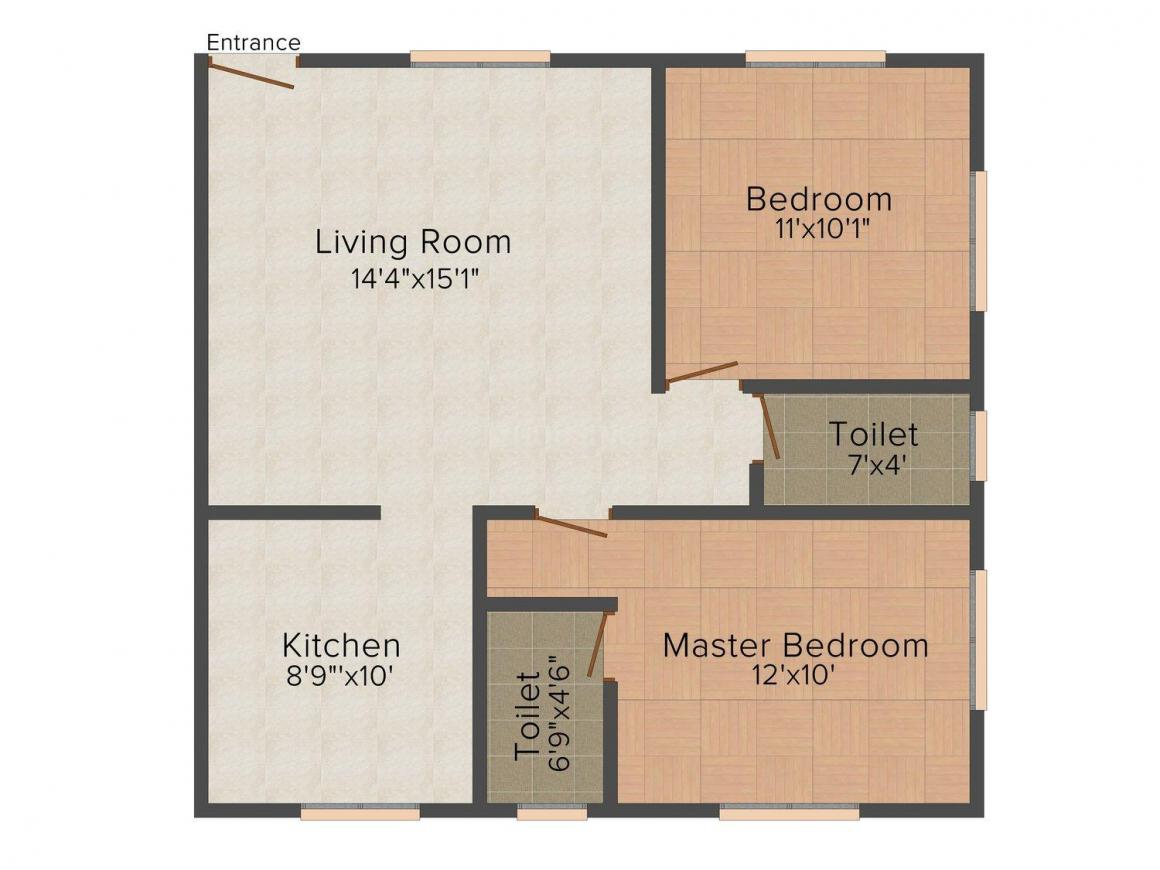 Floor Plan Image of 0 - 880.0 Sq.ft 2 BHK Apartment for buy in Sveta Flats
