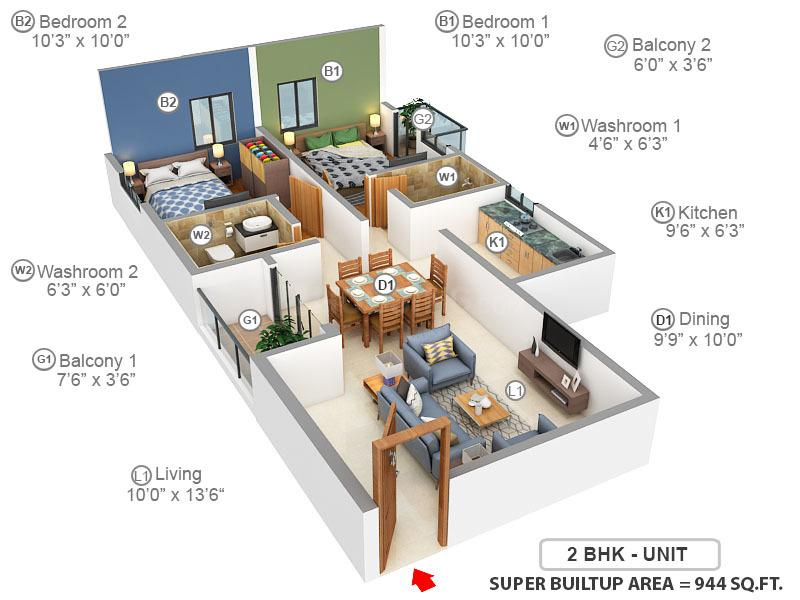 Citadel Silver Space Floor Plan: 2 BHK Unit with Built up area of 944 sq.ft 1