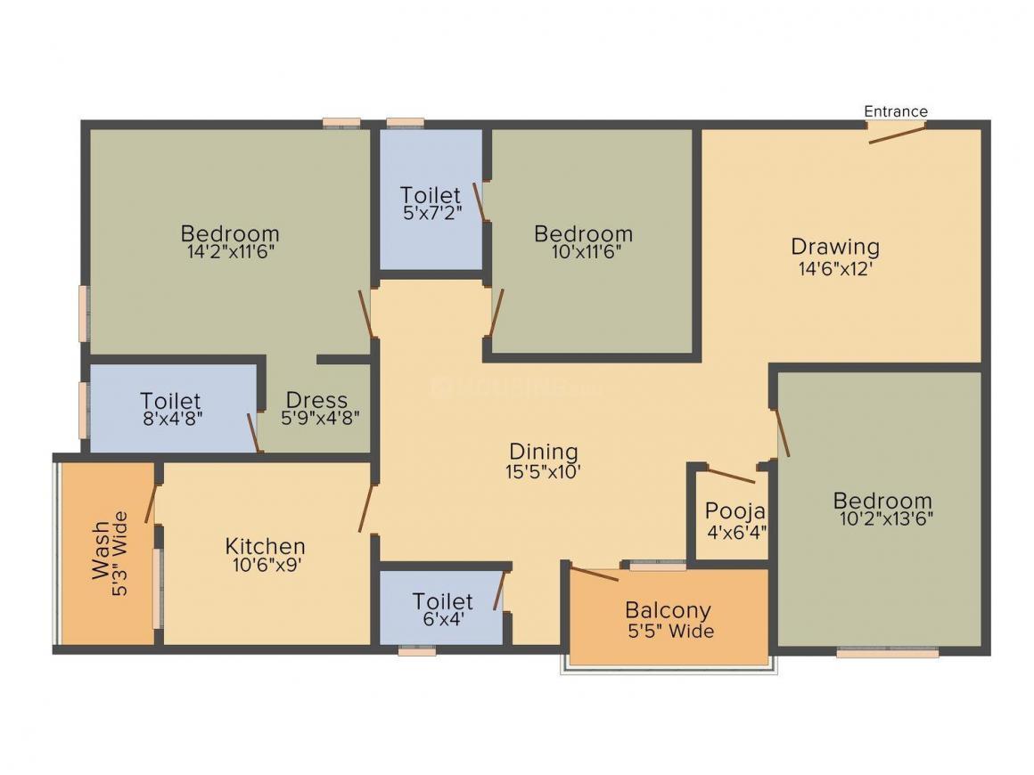 SVL Srimaha Lakshmi Floor Plan: 3 BHK Unit with Built up area of 1575 sq.ft 1