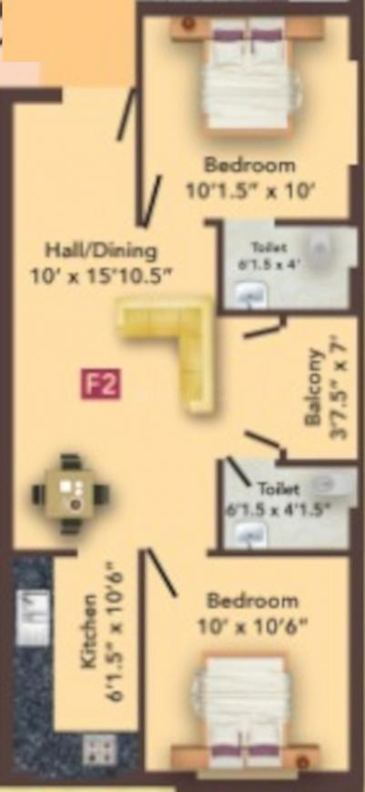 MS MM Metro Floor Plan: 2 BHK Unit with Built up area of 795 sq.ft 1