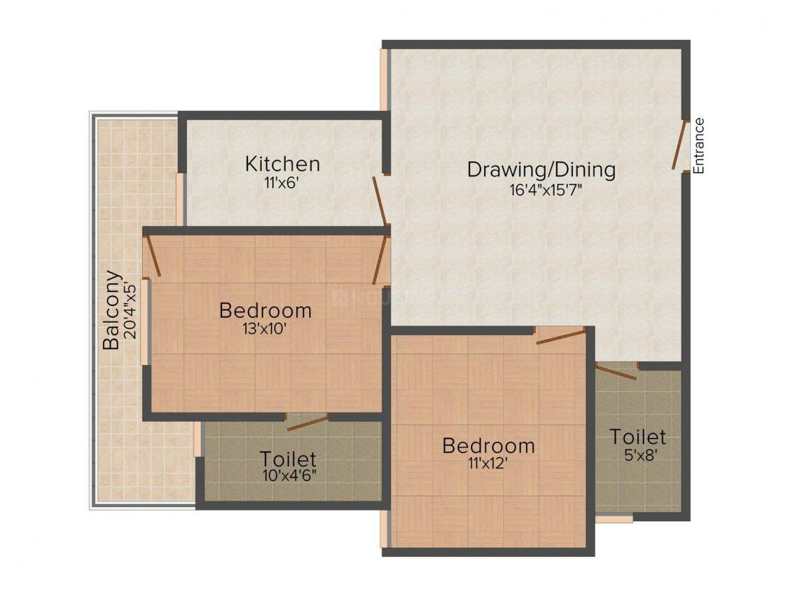 Floor Plan Image of 927.0 - 1359.0 Sq.ft 2 BHK Apartment for buy in JMD Ideal Associates