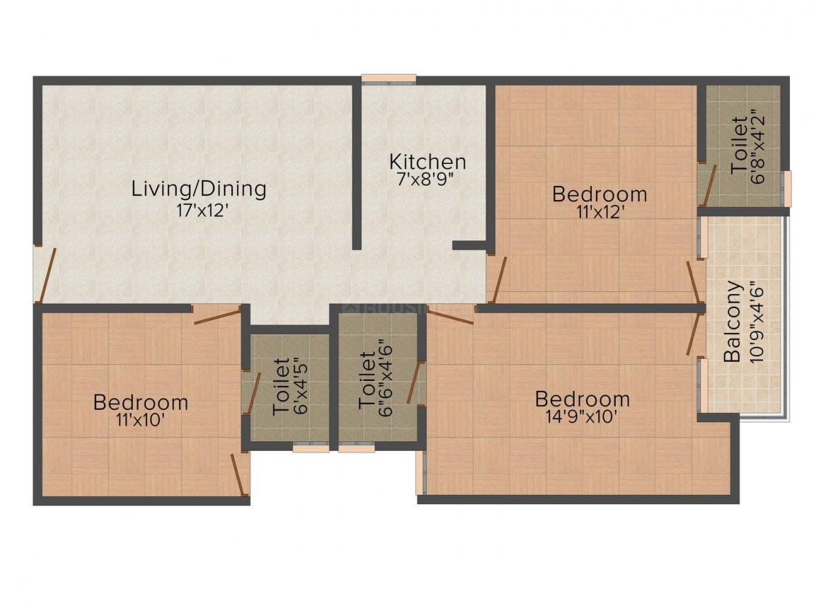 Floor Plan Image of 0 - 1200 Sq.ft 2 BHK Apartment for buy in Maya Awadh Apartment