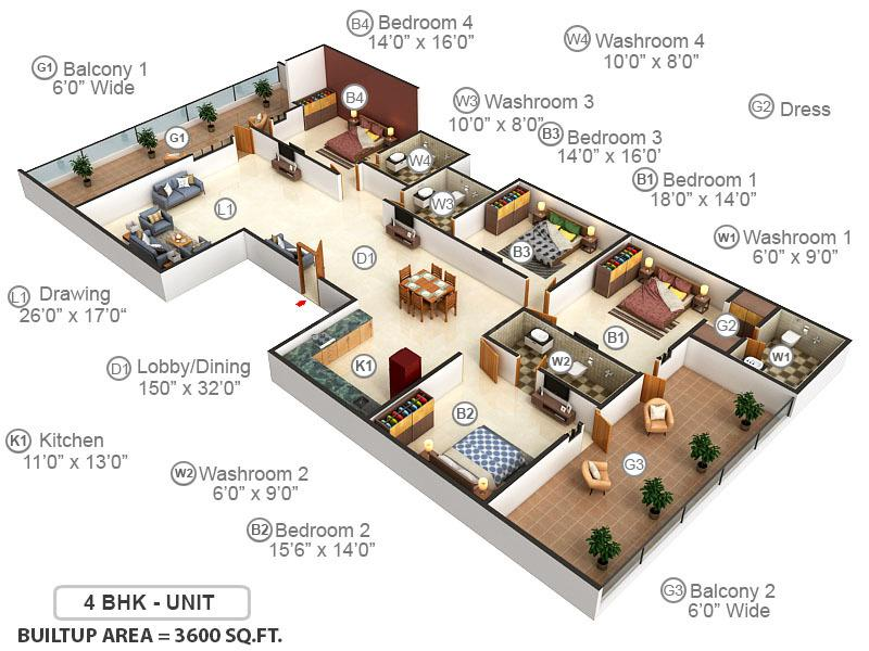 Richlook Luxurious Floor Floor Plan: 4 BHK Unit with Built up area of 3600 sq.ft 1