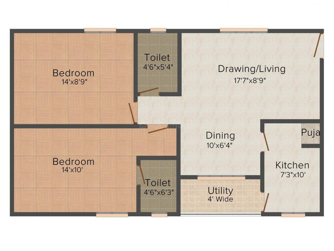 Floor Plan Image of 953.0 - 1609.0 Sq.ft 2 BHK Apartment for buy in Idea's Janardhana Residency