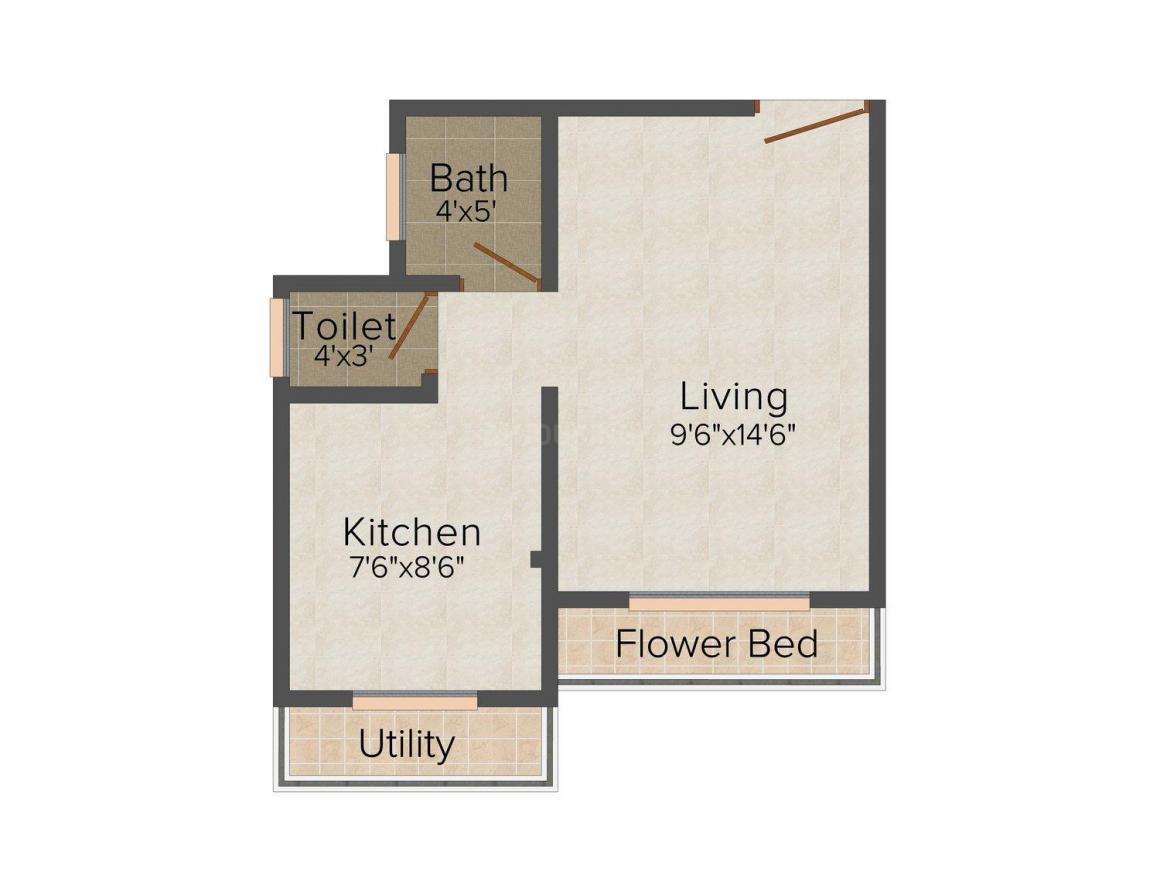 Floor Plan Image of 415.0 - 630.0 Sq.ft 1 RK Apartment for buy in Kana'G Samarpan City