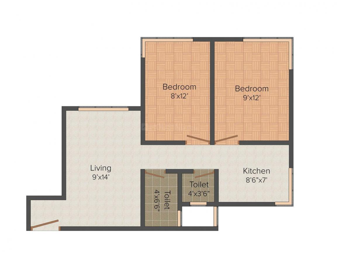 Floor Plan Image of 484.0 - 1175.0 Sq.ft 2 BHK Apartment for buy in SD Bhalerao Sai Krupa