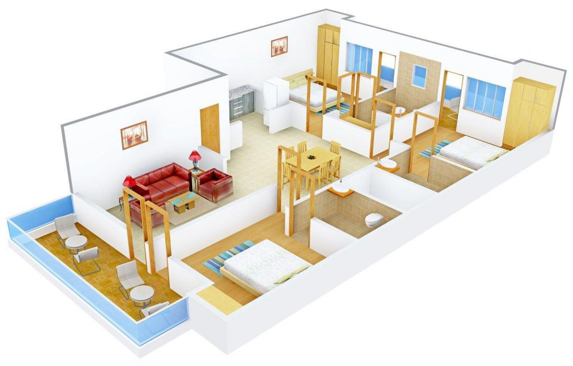 SLR Spangle Floors F-298 Floor Plan: 3 BHK Unit with Built up area of 2700 sq.ft 1