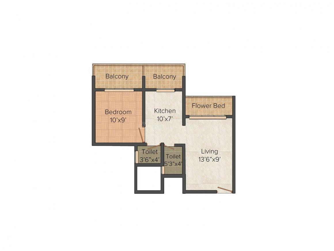 Floor Plan Image of 650.0 - 1200.0 Sq.ft 1 BHK Apartment for buy in Sky Avenue