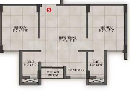 Magnolia Nakshatra Phase 3 Floor Plan: 2 BHK Unit with Built up area of 641 sq.ft 1