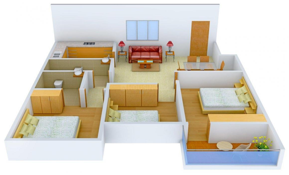 Floor Plan Image of 0 - 1250 Sq.ft 3 BHK Apartment for buy in Aastha Apricot