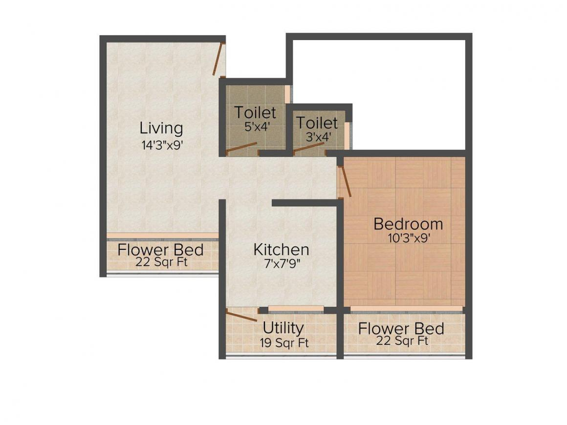 Floor Plan Image of 665.0 - 1015.0 Sq.ft 1 BHK Apartment for buy in Shiv Kamal
