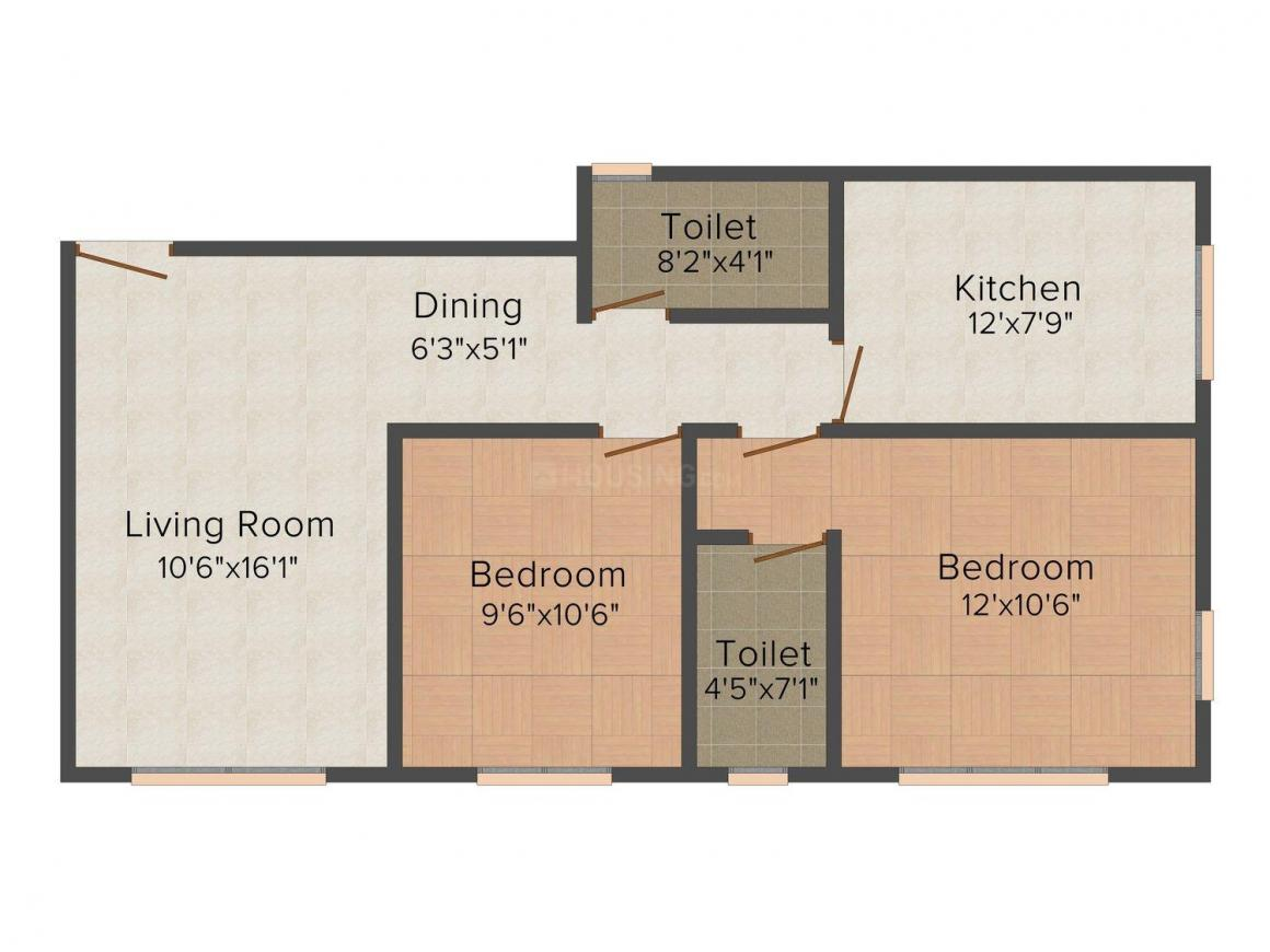 Floor Plan Image of 670.0 - 740.0 Sq.ft 2 BHK Apartment for buy in Sunvision Spenta