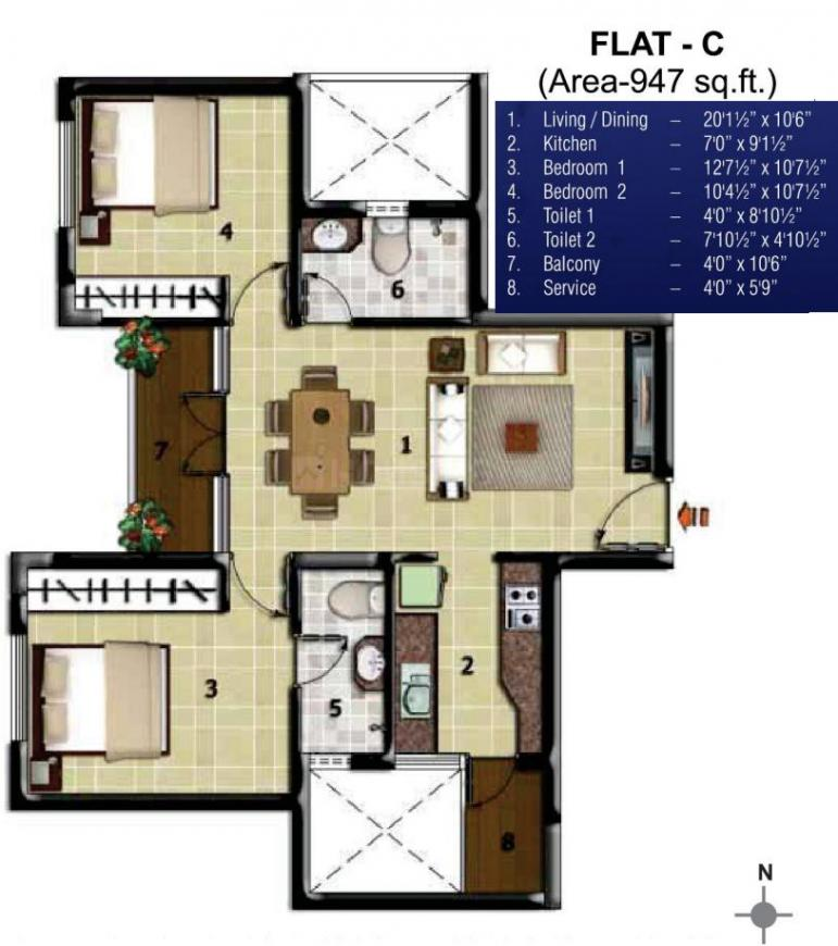 JBM GST Grand Floor Plan: 2 BHK Unit with Built up area of 947 sq.ft 1