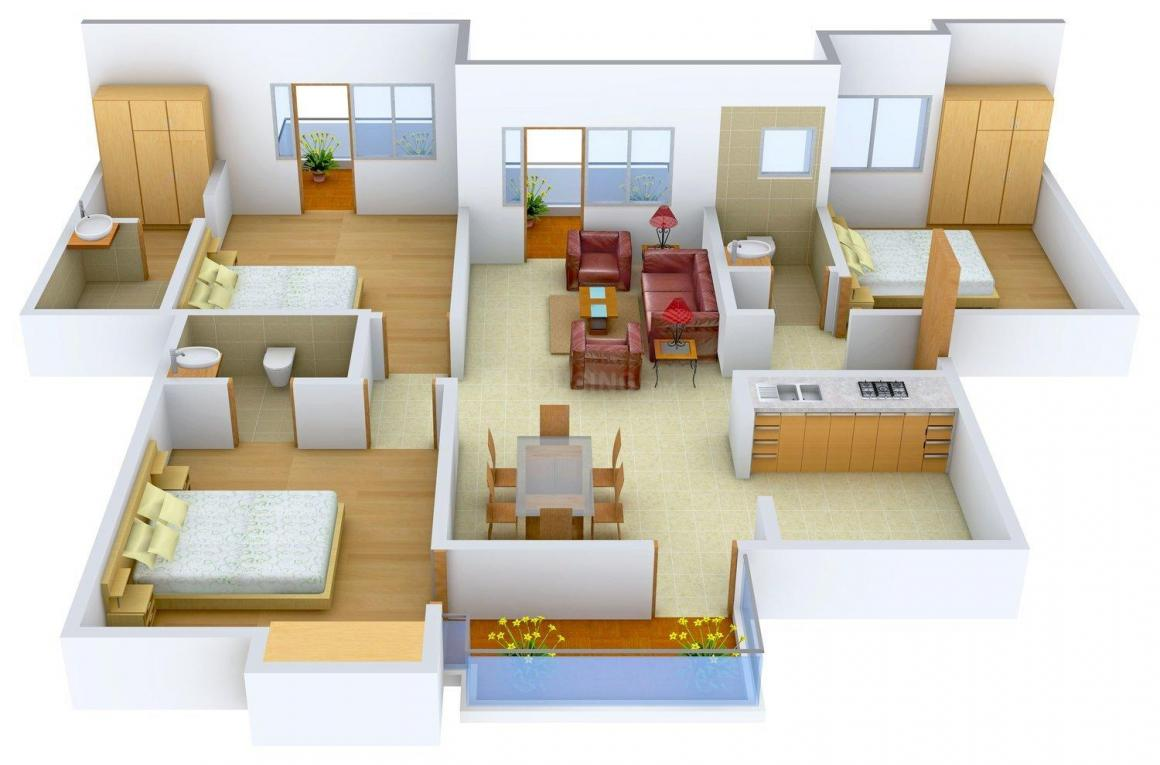 Floor Plan Image of 0 - 1640 Sq.ft 3 BHK Apartment for buy in Omaxe Hills 2