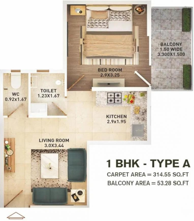 Pyramid Infinity Floor Plan: 1 BHK Unit with Built up area of 315 sq.ft 1