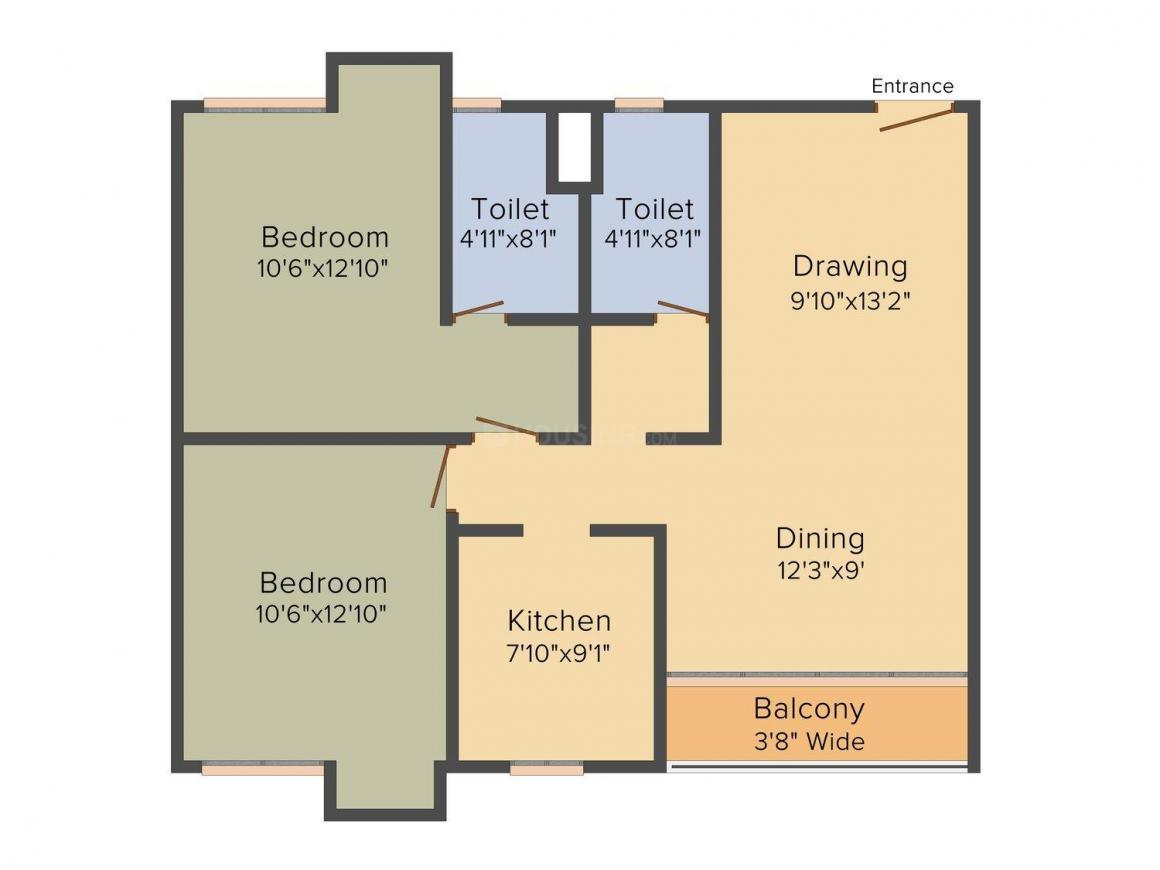Vedic Sanjeeva Kolshree Floor Plan: 2 BHK Unit with Built up area of 1214 sq.ft 1