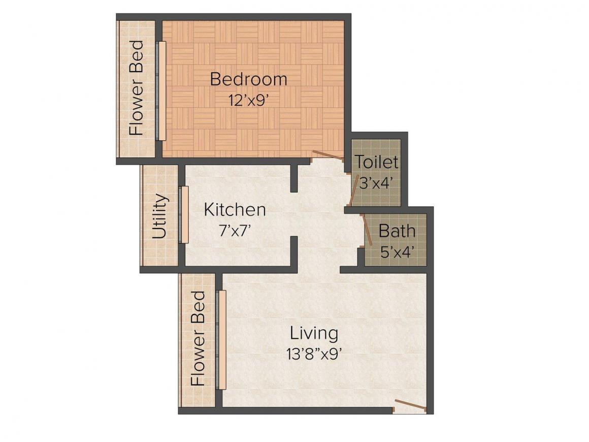 Floor Plan Image of 0 - 560 Sq.ft 1 BHK Apartment for buy in Signature Tulsi Niwas